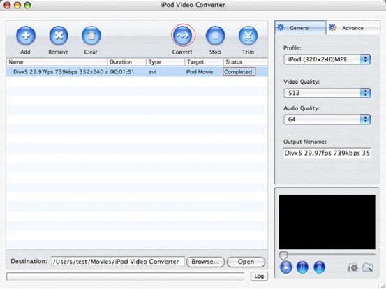 AVI to iPod MP4 conversion Mac