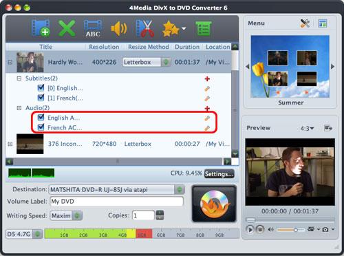 Mac DivX to DVD burning software