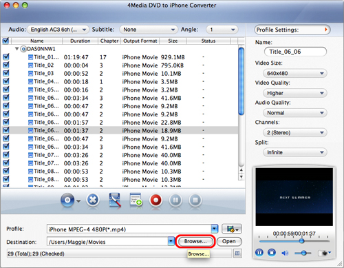 Convert DVD to iPhone video