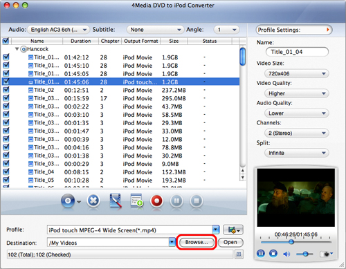 How to convert DVD to iPod MP4 on Mac