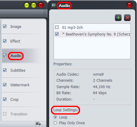Make videos with audio track