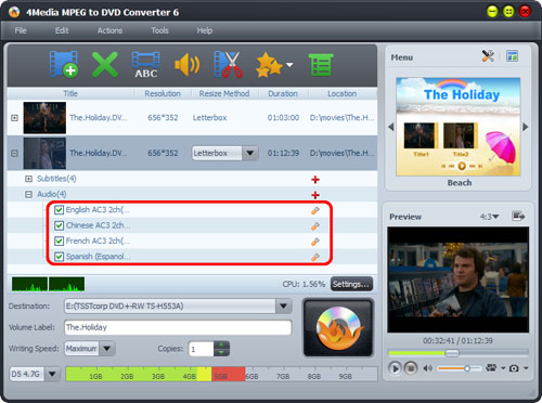 MPEG to DVD burning software