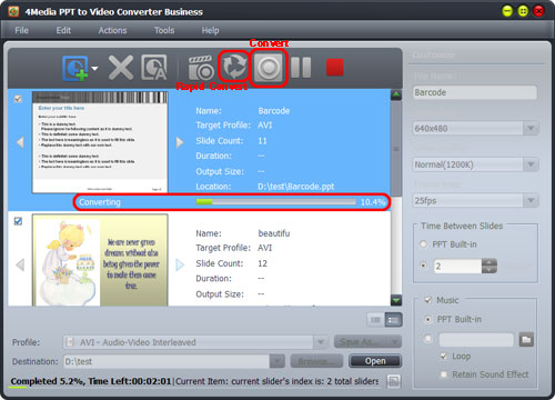 Convert PPT to AVI, MPEG
