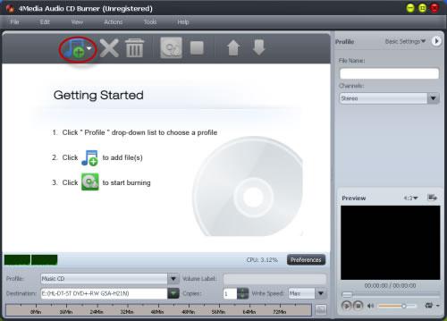 Burn audios to CD